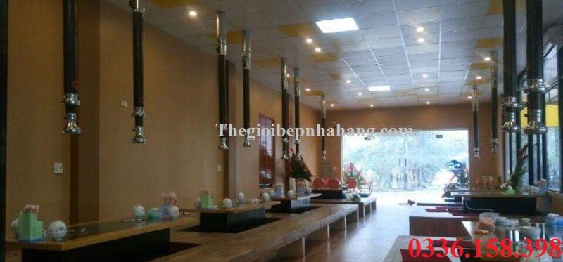 Thi công hệ thống hút khói bếp lẩu nướng than hoa không khói tại Sơn Tây Hà Nội