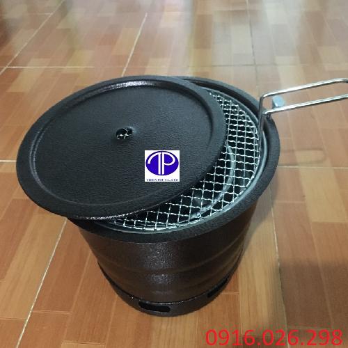 Bếp nướng than hoa âm bàn vỏ sắt kèm vỉ nướng và lắp